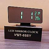 Електронний настільний дзеркальний цифровий лед годинник VST-888Y Світлодіодний Led з термометром, фото 8