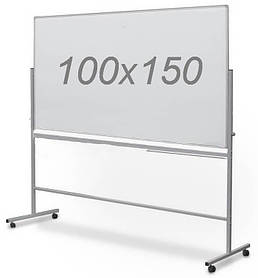 Доска магнитно-маркерная двухсторонняя поворотная UkrBoards 100 х 150 см. Белая доска для маркера