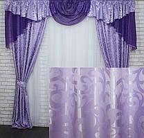 Комплект шторы с ламбрекеном на карниз 3м. Цвет сиреневый с фиолетовым. Код 050лш 70-033