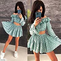 Красивый женский летний костюм топ и расклешенная короткая юбка-шорты р-ры 42-44 арт 0536