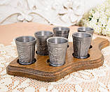 Набор из шести старых оловянных рюмок на деревянном подносе, олово, Германия, винтаж, фото 3