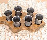 Набор из шести старых оловянных рюмок на деревянном подносе, олово, Германия, винтаж, фото 4