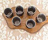 Набор из шести старых оловянных рюмок на деревянном подносе, олово, Германия, винтаж, фото 5