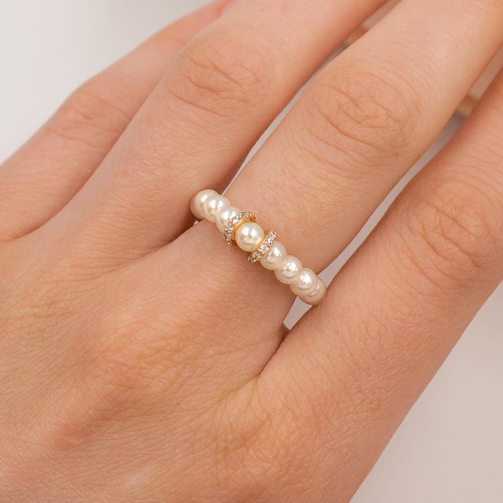 Кольцо из жемчужин на леске с позолотой