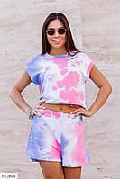 Костюм женский молодежный модный разноцветный из турецкого трикотажа топ и шорты р-ры 42-44,46-48 арт 1195