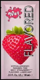 ПРОБНИК Лубрикант Wet Flavored Sexy Strawberry (сочная клубника) 10 мл