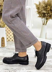 Удобные туфли женские оксфорды классика черная кожа  размер от 36 до 40