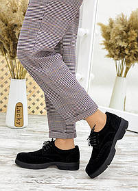 Классические туфли женские оксфорды из черной замши размер от 36 до 40