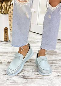 Стильные туфли лоферы кожаные голубого цвета размер от 36 до 40