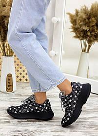 """Черные кроссовки из натуральной кожи с принтом белые """"звезды"""" размер от 36 до 40"""