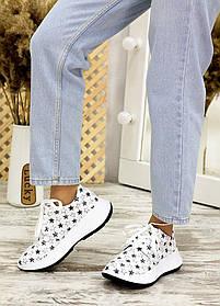Супер оригинальные кроссовки белые из кожи принт звезды, размер от 36 до 40