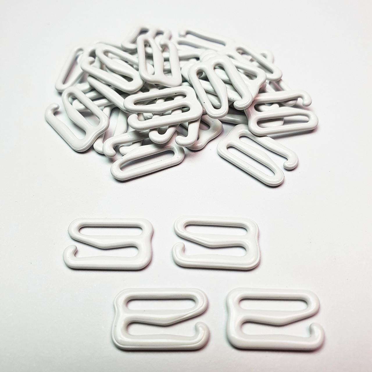 Гачок для бюстгальтера, для бретелей, регулятори 15мм метал білий (Фарбований емаль) (20 шт/уп).
