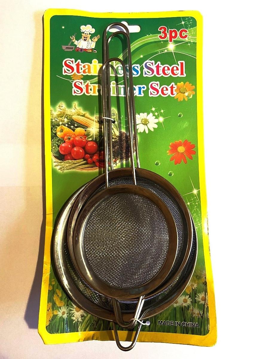 Сито-дуршлаг набор 3 шт с металлической ручкой