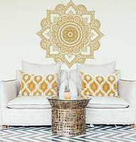 Наклейка на стіну Ажурна мандала (менді візерунок індійські символи орнаменти узголів'я йога матова 1000х1000, фото 1