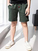 Темно-зеленые шорты для мальчика из хлопка  116, 122, 128, 134