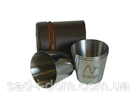 Набор 4 стопки Tramp TRC-013 80мл в кожаном чехле