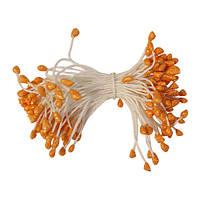 Тычинки Оранжевые с блестками на нитке 3 мм 45 шт/уп