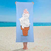 """Пляжное полотенце с принтом """"Мороженое из котиков"""""""