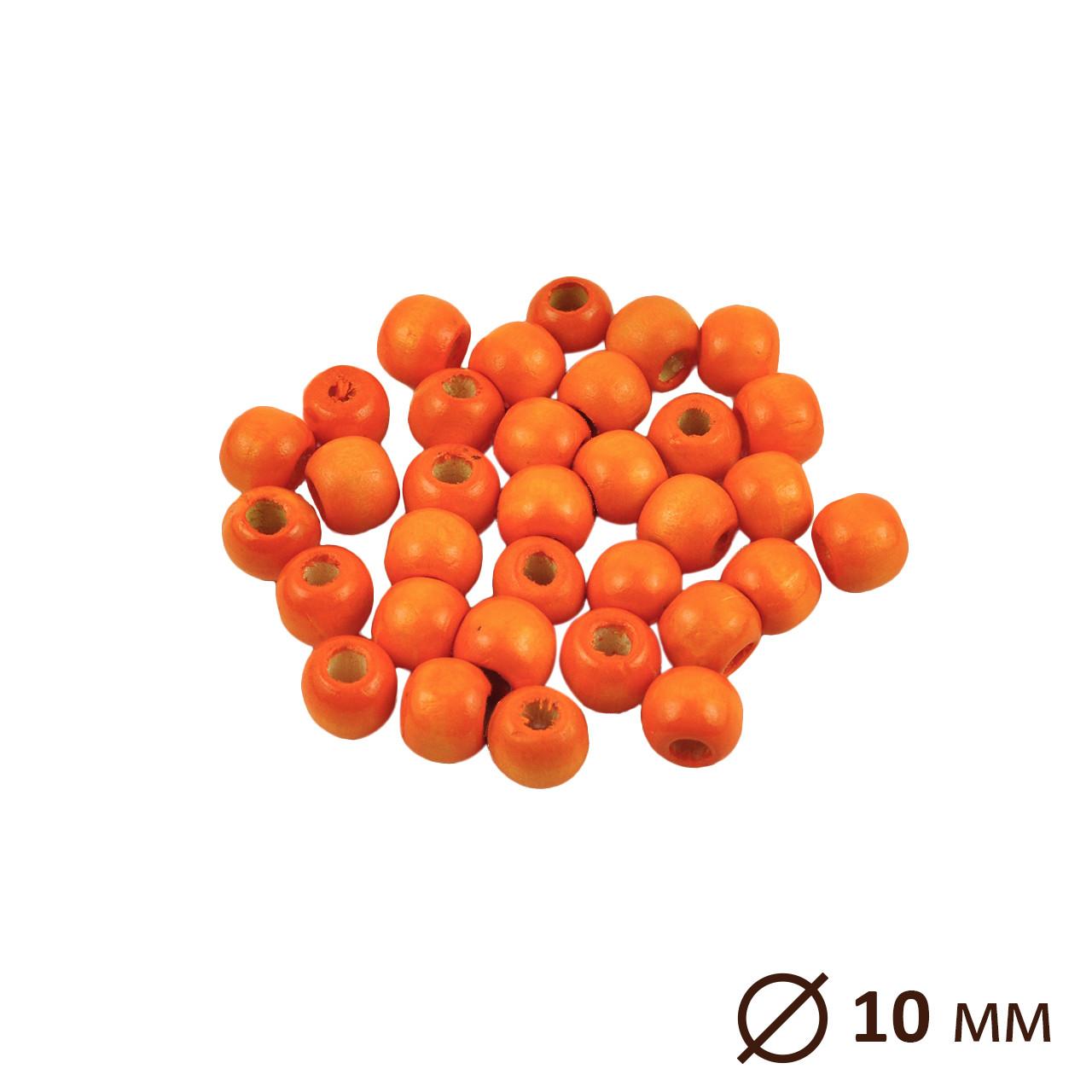 Бусина деревянная, круглая, Оранж Ø 10 мм, 10 шт