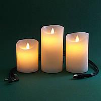 Электронные свечи с имитацией пламени и встроенным аккумулятором