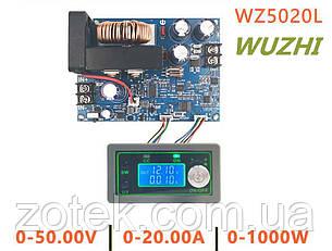 WUZHI WZ5020L  0-50V 0-20A 1000Вт Лабораторный Понижающий блок модуль питания с цифровым управлением