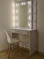 Макияжный столик и гримерное зеркало с полками ящик с замочком белый 850 мм