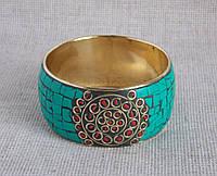 Латунный индийский браслет с отделкой из кости
