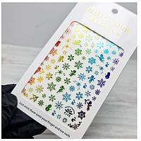 Слайдер дизайн, наклейки для ногтей новогодние, новый год, снежинки блестящие, зима №248 Sweet Nails