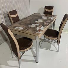 Обідній стіл розкладний зі скляною стільницею , модель 301 Demiral, фото 2