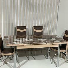Обідній стіл розкладний зі скляною стільницею , модель 301 Demiral, фото 3