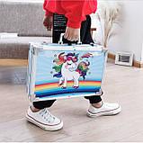 """Дитячий набір для творчості художника """"Єдиноріг"""" 145 предметів у двохярусному алюмінієвому валізі Синій, фото 5"""