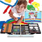 """Дитячий набір для творчості художника """"Єдиноріг"""" 145 предметів у двохярусному алюмінієвому валізі Синій, фото 2"""