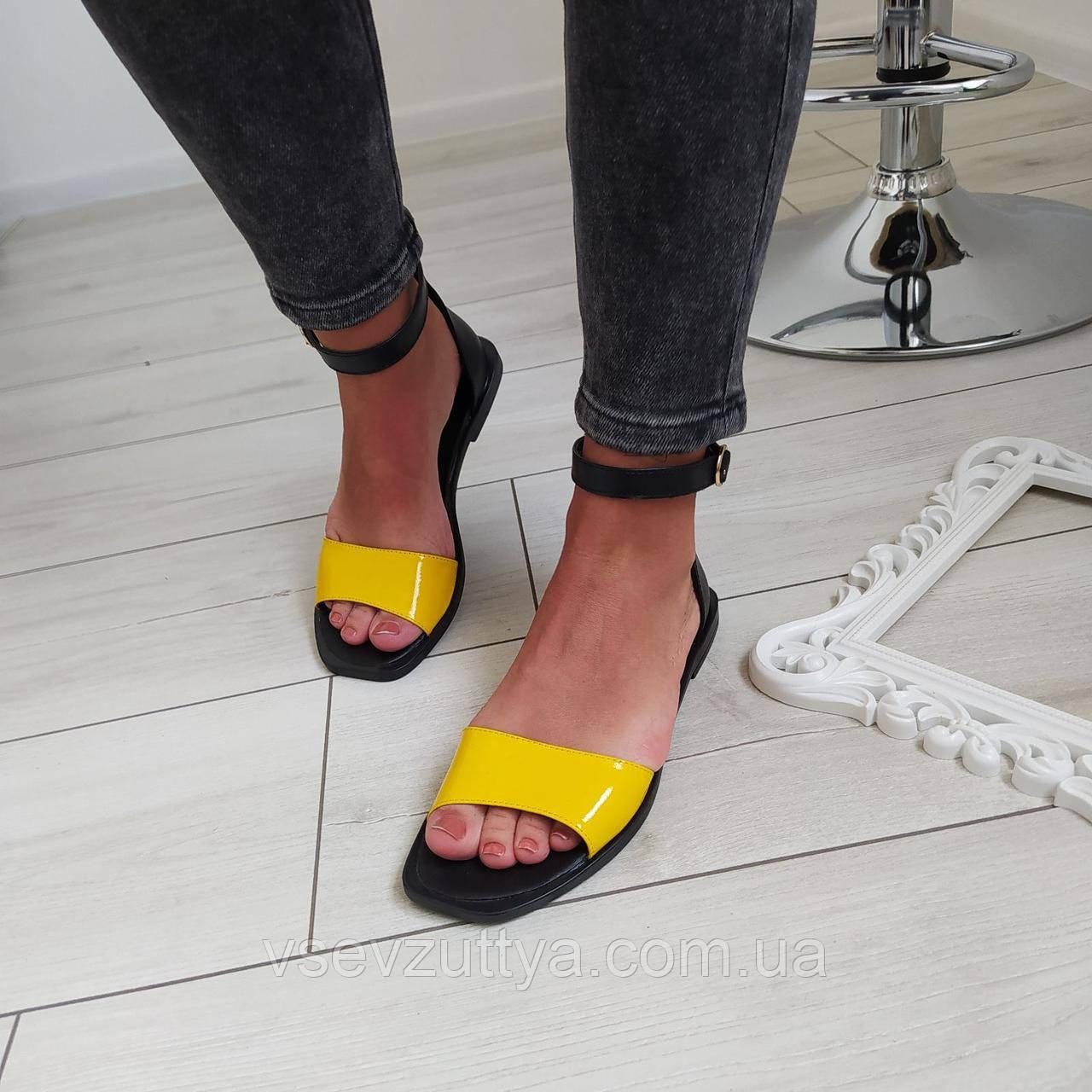 Босоніжки жіночі натуральна шкіра лак жовті