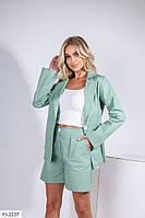 Классический летний женский костюм из льна шорты с высокой посадкой и удлиненный свободный пиджак арт 145