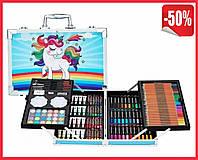 """Детский набор художника для творчества """"Единорог"""" 145 предметов в двухъярусном алюминиевом чемодане Синий"""
