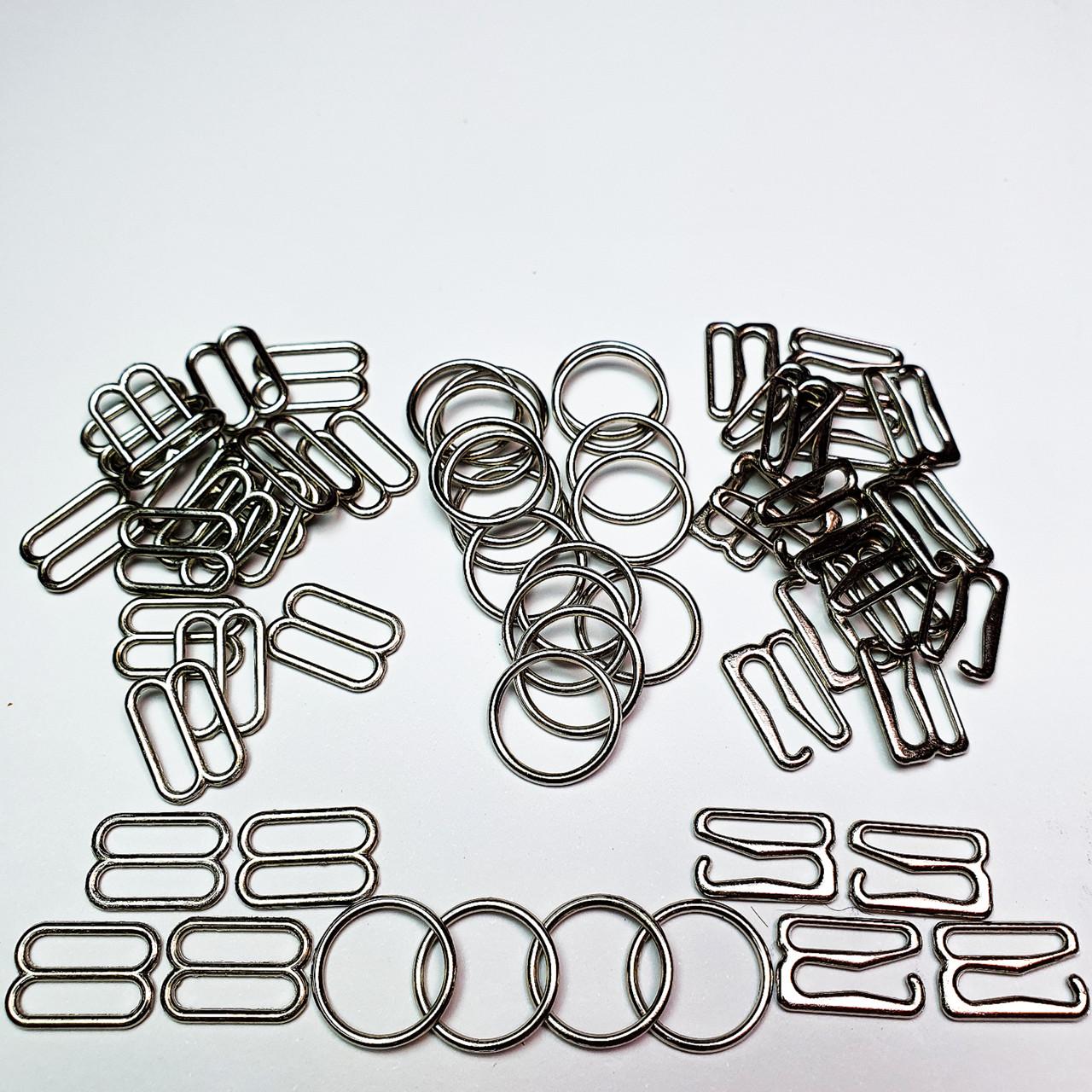 Набір для бюстгальтера, для бретелей, регулятори 10мм метал (сріблястий нікель).(3 деталі по 20 шт).