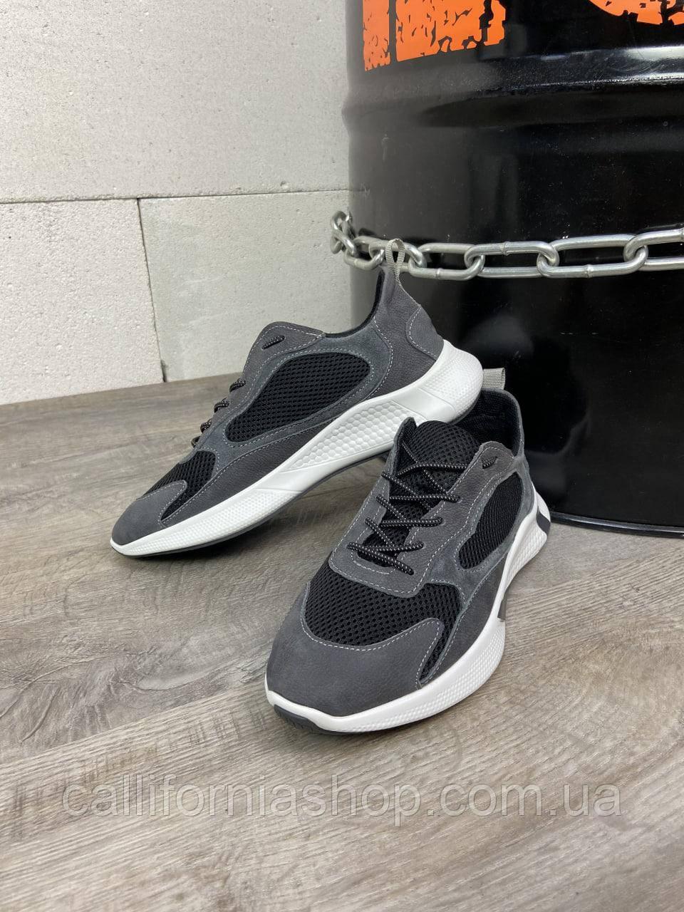 Мужские кроссовки из натуральной замши с сеткой цвет серый с черным летние
