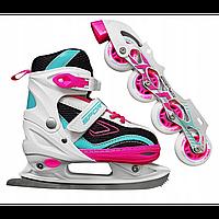 Роликовые коньки SportVida 4 в 1 SV-LG0031 Size 31-34 Pink/Blue