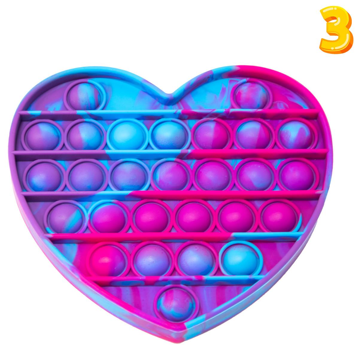 Антистресс пупырка Pop it - Фиолетовое большое 14,5х14 см сердце с разводами №3   игрушка для рук Поа ит (ST)
