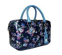 Синяя кожаная сумка с цветами, фото 1
