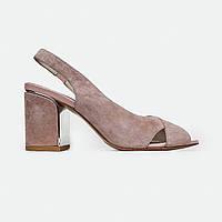 Элегантные замшевые босоножки на широком среднем каблуке нежно- розовые Brocoli W706-602-3486