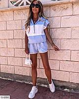 Трикотажный молодежный женский костюм на лето шорты и футболка р-ры 42-44,44-46 арт 485