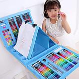 Дитячий набір для малювання та творчості у валізці з мольбертом, набір художника 208 предметів Блакитний, фото 2