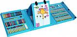 Дитячий набір для малювання та творчості у валізці з мольбертом, набір художника 208 предметів Блакитний, фото 4
