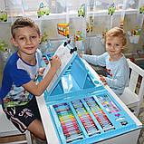 Дитячий набір для малювання та творчості у валізці з мольбертом, набір художника 208 предметів Блакитний, фото 7
