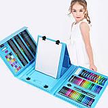 Дитячий набір для малювання та творчості у валізці з мольбертом, набір художника 208 предметів Блакитний, фото 9