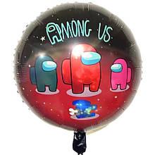 Фольгований круглий повітряний кулька among us амонг ас чорний діаметр 45 см