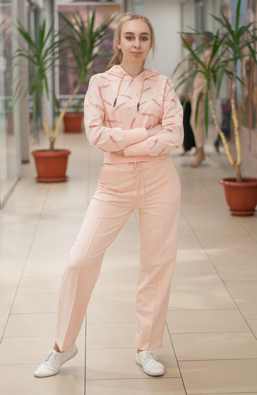 Женский прогулочный трикотажный костюм с брюками клеш персиковый 201-944