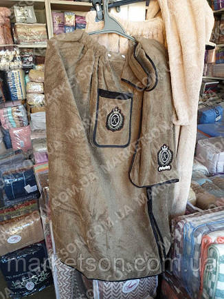Рушник-халат чоловічий для сауни+рушник. Мікрофібра, фото 2