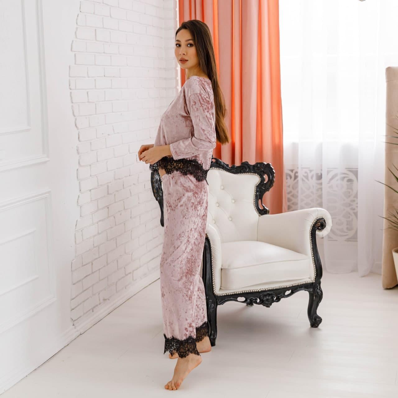 """Піжама жіноча з мармурового велюру """"Шеррі"""". Комплект кофта та штани мерехтливої кольору"""